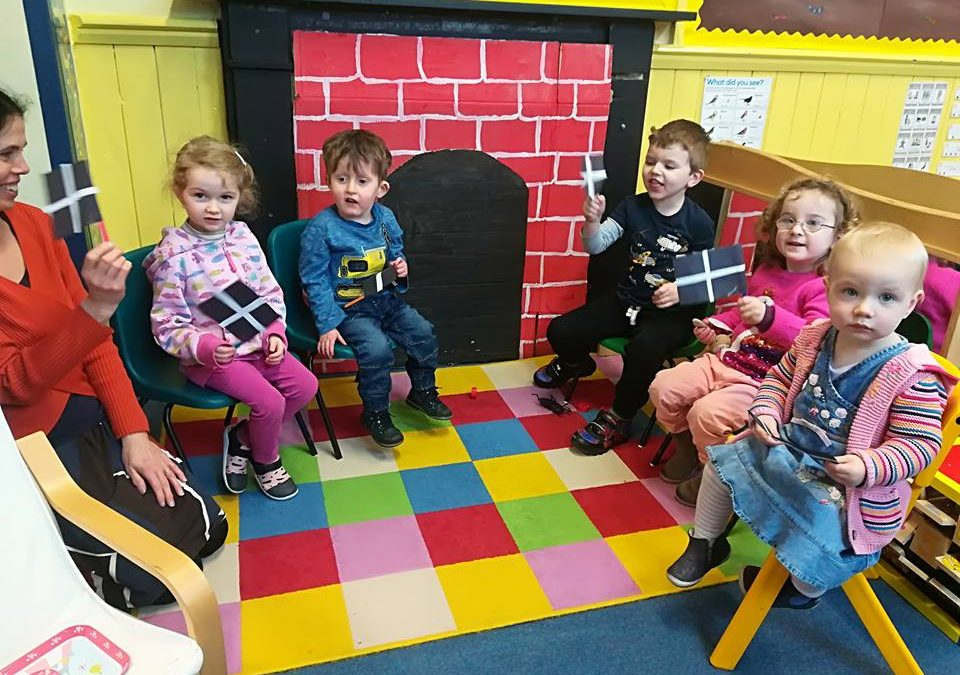 Trewidland Pre-School celebrate St Piran's day